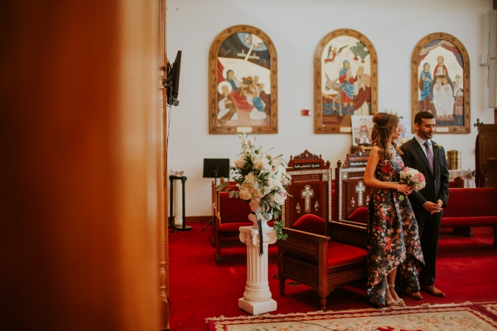 couple standing at coptic engagement ceremony