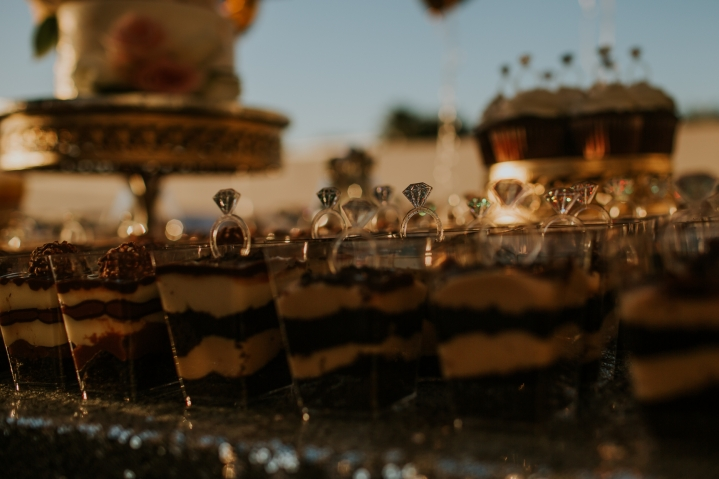 detail of dessert table for coptic engagement party on clearwater beach