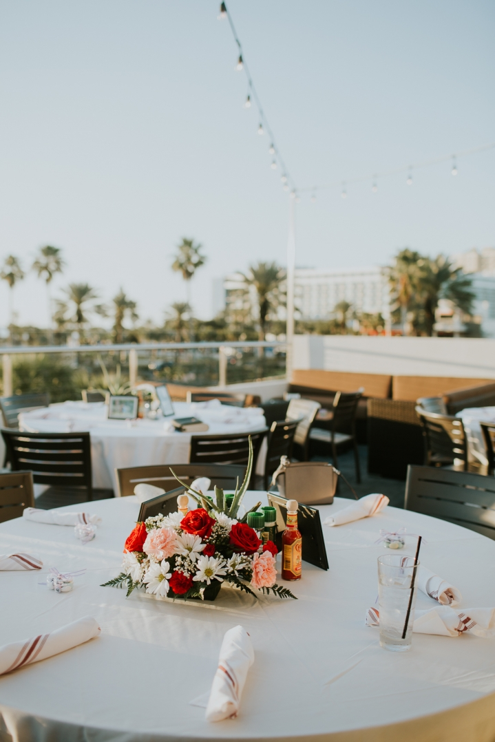 table decor for coptic engagement party on clearwater beach