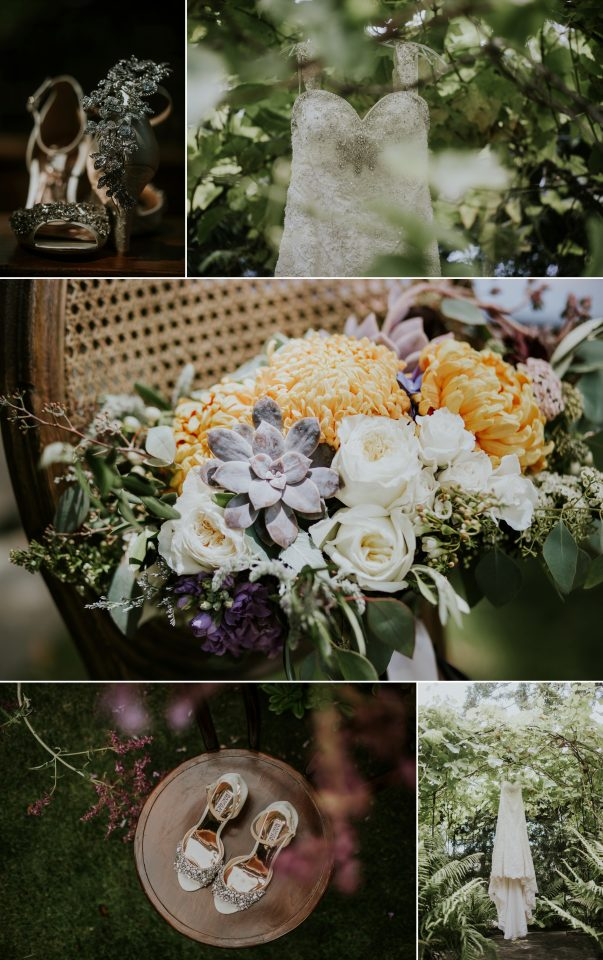 Bridal details, gown, shoes, bouquet and greenery